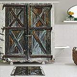 KISSENSU Cortinas con Ganchos,Impresión de Puertas de Granero rústico Viejo,Cortina de Ducha Alfombra de baño Bañera Accesorios Baño Moderno