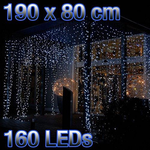 Preisvergleich Produktbild 160er LED Lichtervorhang weiss Kabel transparent 190cm breit 80cm hoch