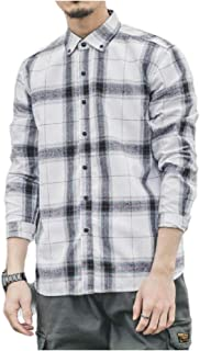 RkBaoye Men Trendly Flannel Plaid Peaked Collar Japanese Artist Shirts