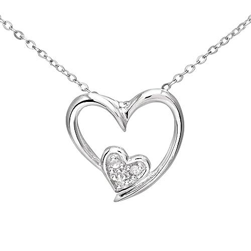 1c69dfc6a48f Naava Collar para Mujer de Oro Blanco 9K con Diamante 46 cm