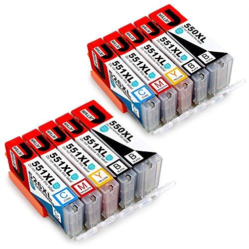 JETSIR PGI-550 CLI-551 Compatibile Cartucce Canon PGI-550XL CLI-551XL per Cannon PIXMA iP7250 MX925 iX6850 MG6450 MG5450 MG5650 MG6650 MG5550 iP8750 iP7200 (2 PGNero,2 Nero,2 Ciano,2 Magenta,2 Giallo)