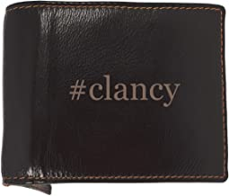 #clancy - Soft Hashtag Cowhide Genuine Engraved Bifold Leather Wallet