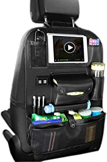 BLACK Car Back Seat Organiser 2pcs ZYBUX 2 Type Waterproof Kick Mats Car Organiser Seat Back Protectors with Multi Pockets Including 10 iPad Tablet Holder