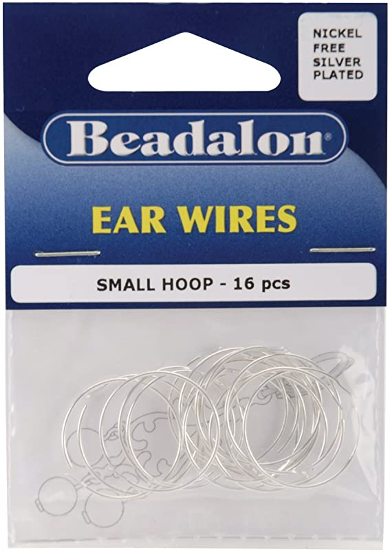 Ear Wire Beading Hoops Small 20mm 16/Pkg-Silver Pl vhuxquof663499