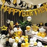Micacorn Decoraciones de Fiesta de Cumpleaños de Lujo 110 piezas con Pancarta de Feliz Cumpleaños en Oro Metálico, Globos de Confeti de Oro Negro Plateado, Globos de Lámina de Látex de Coron
