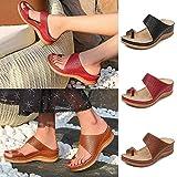 Dedo del pie de Verano de Las Mujeres Anillo Ortopédica Sandalias de cuñas Zapatillas señoras de Las Chancletas de Mulas Zapatos (42,Brown)
