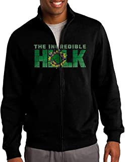 Men The Incredible Superhero Green Goliath Zip-up Jacket Hooded Sweatshirt Black