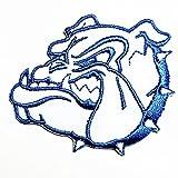 Head Pitbull Bulldog blue Dog Cartoon Movie patch Kid Baby Boy Jacket T Shirt Patch Sew Iron on Embroidered Symbol Badge Cloth Sign Costume
