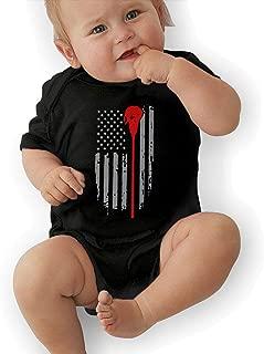 Lacrosse American Flag Newborn Crawling Suit Sleeveless Romper Bodysuit Onesies Jumpsuit Black