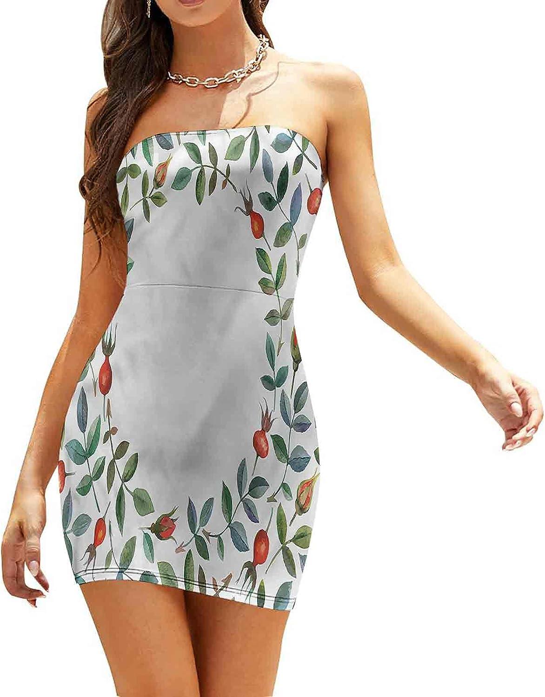 Women's Summer Strapless Dresses Flower and Bud Frame Dresses