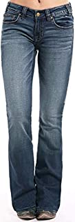 Rock & Roll Cowgirl Womens Mid Rise Extra Stretch Jeans - Boot Cut Denim in Dark Vintage Wash