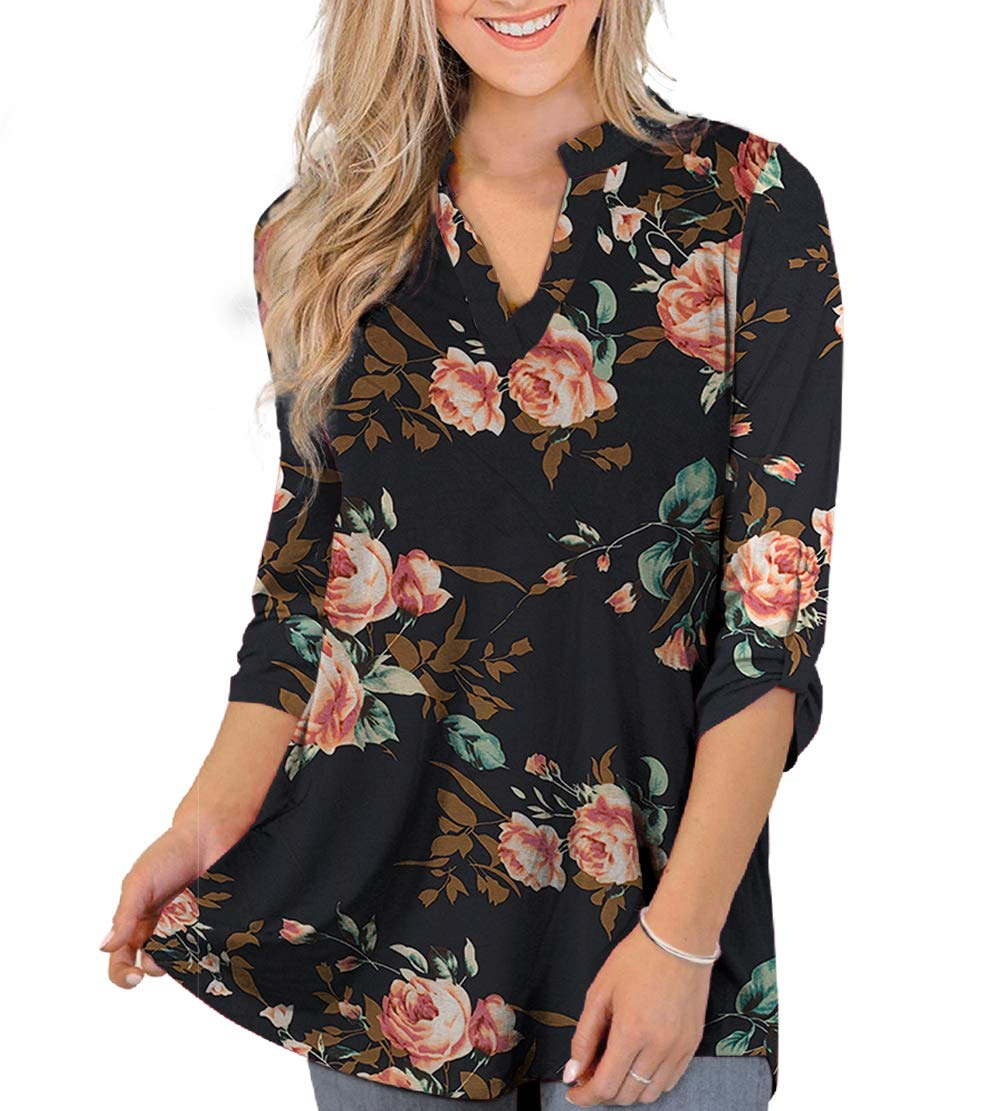 Othyroce Womens Floral Printed Tunic Tops