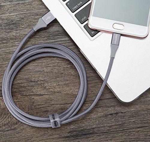 Amazon Basics - USB-2.0-A auf Micro-B-Kabel mit doppelt geflochtenem Nylon | 1,8 m, Dunkelgrau