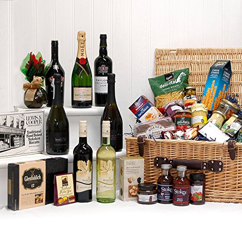 The Lord & Lady Gift Hamper - Large Luxury Wicker Basket with 24 Gourmet Food Items includes Champagne, Port, 4 Bottles of Wine and more - Gift Ideas