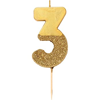 Gold Number Candle 3