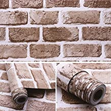 HIZLJJ Wallpaper Contact paper Brick wallpaper Wood Contact Paper Wood Peel and Stick Wallpaper Self-Adhesive Removable Wa...
