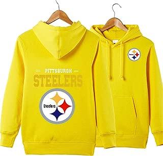 JJCat Men's Long Sleeve Hooded Letters Print Pittsburgh Steelers Football Team Solid Color Pullover Hoodies