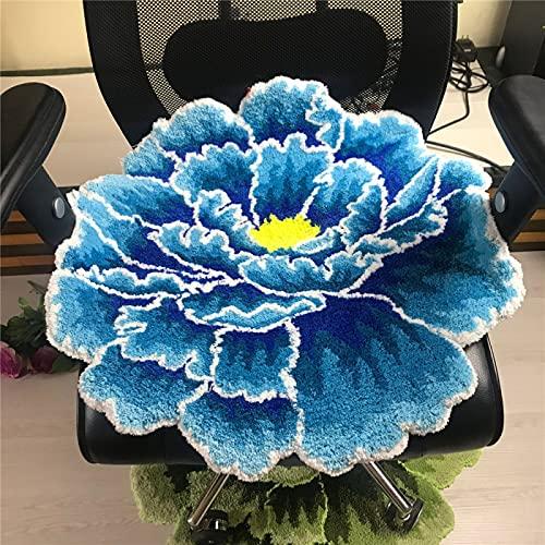 Alfombra Creativa De Felpa con Flores De Peonía, Alfombrilla Flocada Estilo Pastoral Retro para Sala De Estar Y Dormitorio, Alfombra Redonda Suave