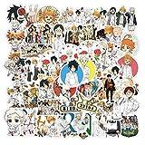 50 pegatinas The Promised Neverland para botellas de agua, portátiles, teléfonos, guitarras, monopatines, bicicletas, vinilos, resistentes al agua, anime japonés, para jóvenes, niños y adultos