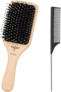 Hair Brush Boar Bristle Hairbrush for Thick Curly Thin Long Short Wet or Dry Hair Adds Shine and Makes Hair Smooth, for Men Women Kids Thick Hair Anti Static Detangling Best Paddle Brush for Reducin