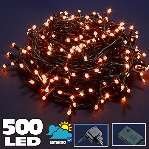 Bakaji Catena Luminosa 500 Luci LED Lucciole Bianco Caldo Controller 8 Funzioni Interno ed Esterno