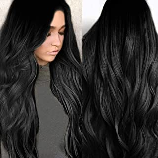 Akashkrishna Women full head High Density Gradient Black Front Long Wave Wavy Curly Soft Hairstyle Synthetic Wig DIY Fashi...