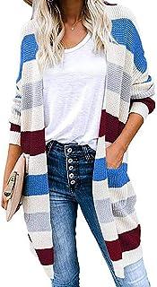 Huicai Jerséis De Mujer Cárdigan De Punto Sudaderas A Rayas Suéter De Costura En Contraste Cárdigans Otoño Invierno Prenda...