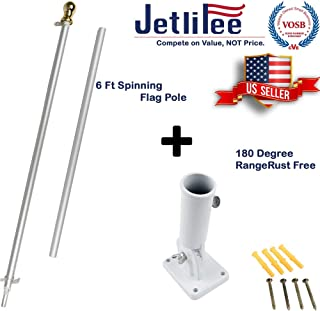 Jetlifee 6 Ft Aluminum Tangle Free Spinning Flag Pole and Multi Position Flag Pole Mounting Bracket Veterans Owned Biz. No Tangle Spinning Pole Silver Colored Globe Rust Free Wind Resistant