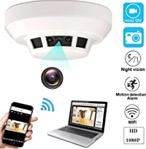 YCTONG WiFi Hidden Camera Smoke Detector HD 1080P Wireless Home Security Camera Night Vision Motion Detection Alarm Mini Video Recorder Surveillance Camcorder for House Office Pet Nanny Cam