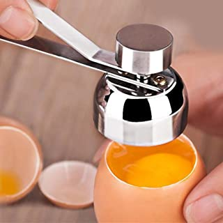 Transer Egg Topper Cutter, Stainless Steel Egg Cracker Tool Eggshell Remover for Hard & Soft Boiled Eggs (Silver)