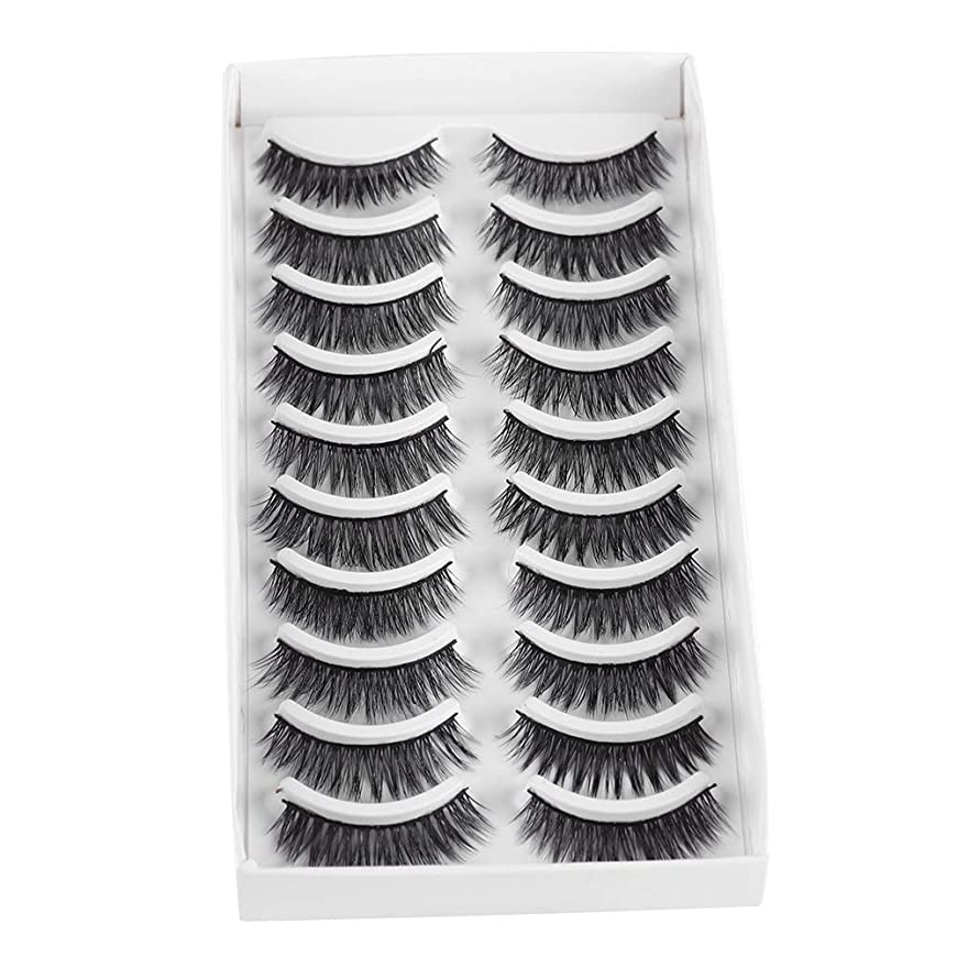 豆腐達成海外でMultipack Thick Long False Eyelashes Wispy Eyelashes Extension Eye Makeup Tools Handmade Reusable Lashes 10Pairs