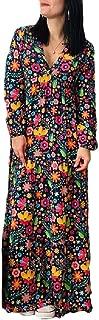 neveraway Women's Long Sleeve V-Neck Empire Waist Loose Printing Floral Long Dress