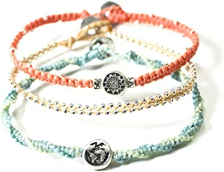 Wakami New World Charm Bracelet Set of 3 | Handmade Boho Jewelry | Friendship Bracelets for Women | Glass Beaded, Waterpro...