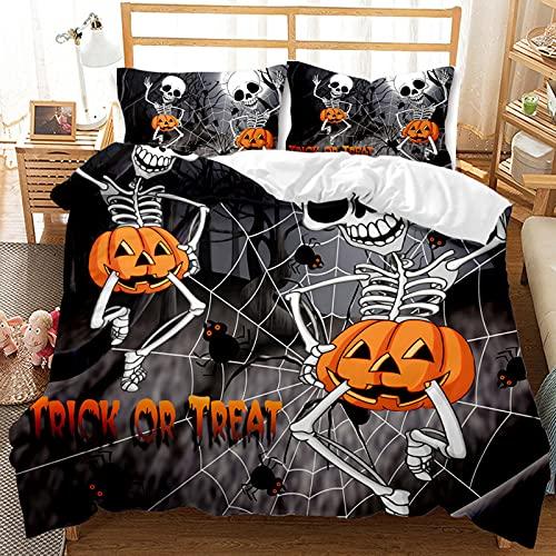 Meetlife Juego de cama, diseño de calavera gótica de Halloween y fantasma esqueletta, funda de edredón de microfibra para niños, adultos de Halloween o habitaciones (220 x 260 cm)