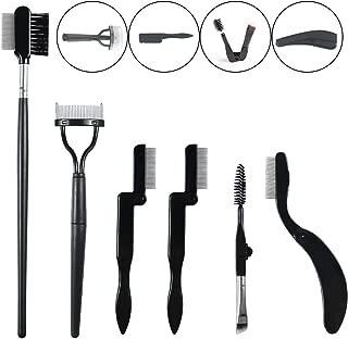 Eyebrow Brush 6 PCS Eyelash Grooming Brush Comb Separator Folding Eyelash Comb Curler Steel Brow Brush Comb for Brow Makeup Brush