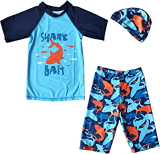 ZDUND Boys Two Piece Rash Guard Swimsuits Toddler Kids Boys Long Sleeve Bathing Suit Swimwear Sets