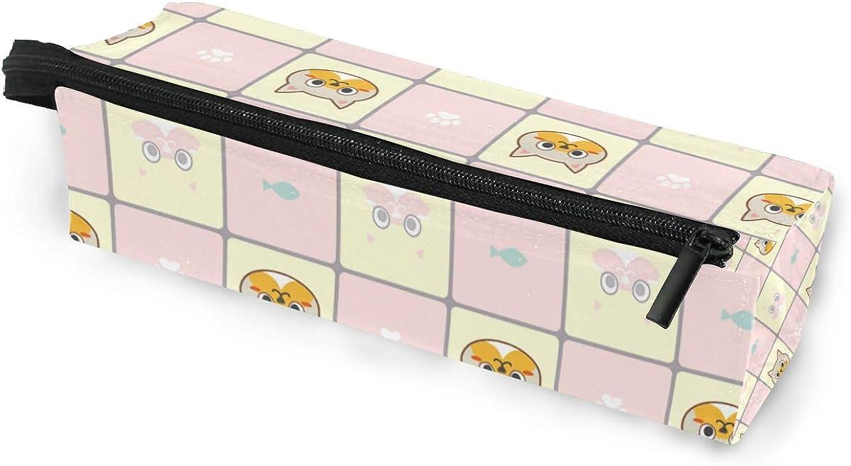 Kitty Fish Cat Paw Print Sunglasses Soft Case Zipper Eyeglass Case Storage Stationery Box