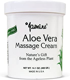 Jasmine Aloe Vera Massage Cream. Keep Your Face and Body Fresh and Soft with Anti-Aging Therapy Cream. Have Deeply Moisturized and Nutrition on Your Skin. Organic Aloe Vera Extract. [400 g / 14.1 Oz]