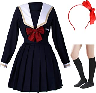 Japanese School Girls Sailor JK Uniform Navy Bule Pleated Skirt Anime Cosplay Costumes with Socks Set(SSF30)