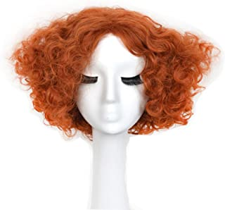 Yuehong Party Hair Short Curly Orange Wig Movie Halloween Costumes Synthetic Cosplay Wigs