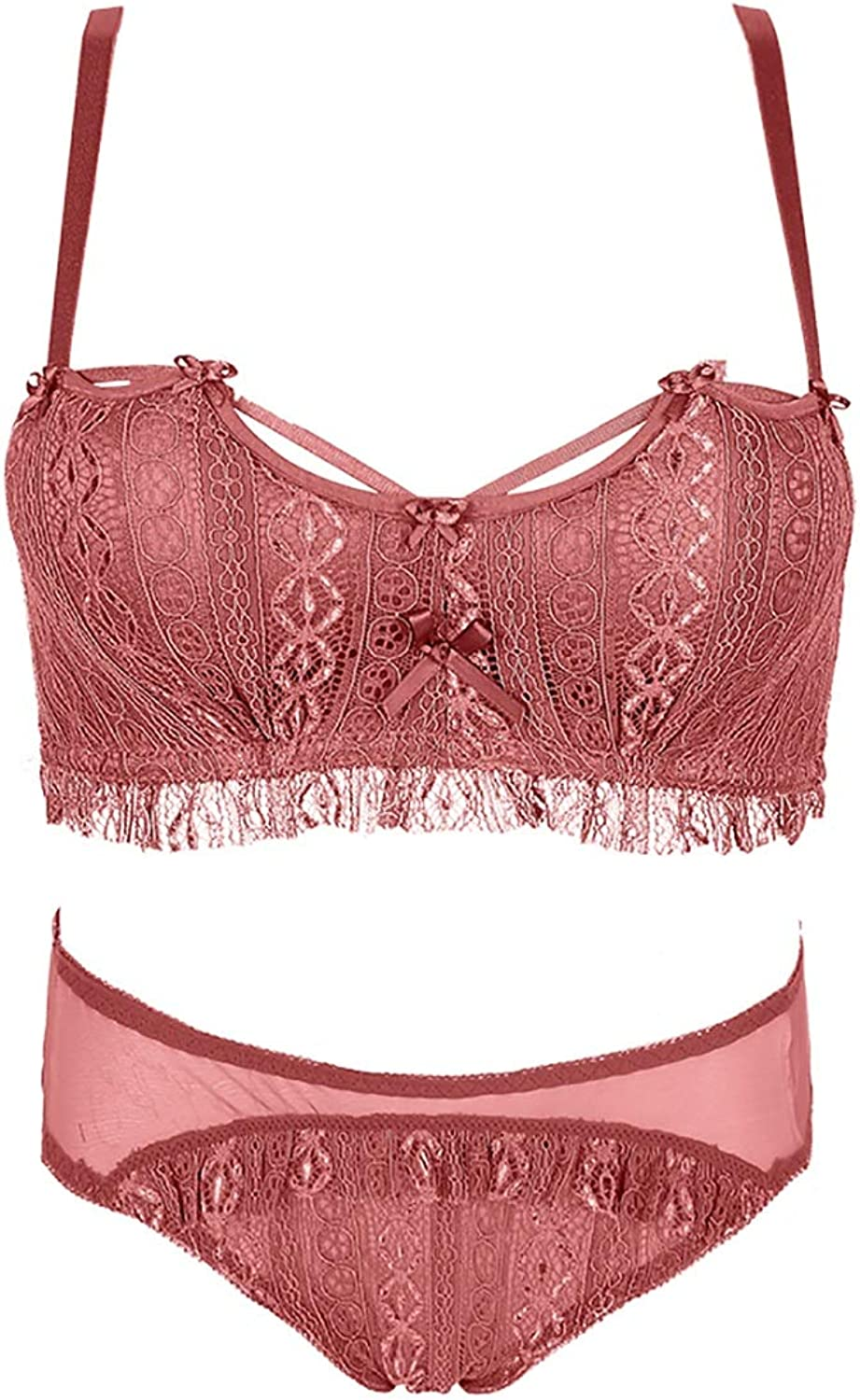 Perfect Home Bra Set Sexy deep V Gather lace Embroidery Pattern, no Steel Ring, Sponge, Adjustable Chest Type, Four Rows of Three Buckles. Fashion (color   Red, Size   85A=36A=80A)