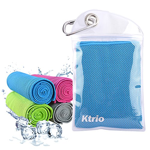 KTRIO Cooling Towel Gym Workout Towel Sports Towel Instant Cooling Towels for Neck Microfiber Cool Towels Mesh Chilly Towel Neck Wrap Scarf for Fitness, Yoga, Running, Travel 40x12 inches Blue