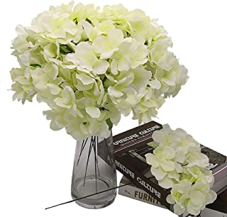 Grunyia Silk Hydrangea Heads with Stems Artificial Flowers, Pack of 10 (Off White)
