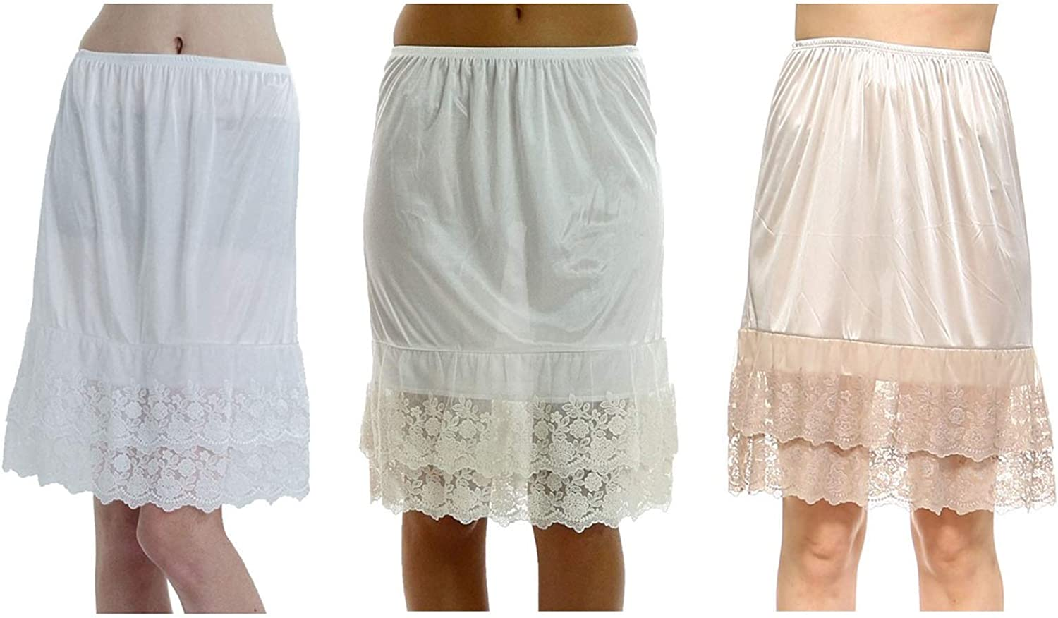 Melody Women's Double Layered Lace Satin Skirt Extender Half Slip 3 Pieces Pack Set