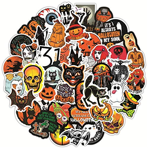 PMSMT 50 Uds Retro Halloween Calabaza Fantasma Horror Pegatina DIY monopatín Snowboard Maleta Scrapbooking portátil teléfono Coche calcomanía Pegatina
