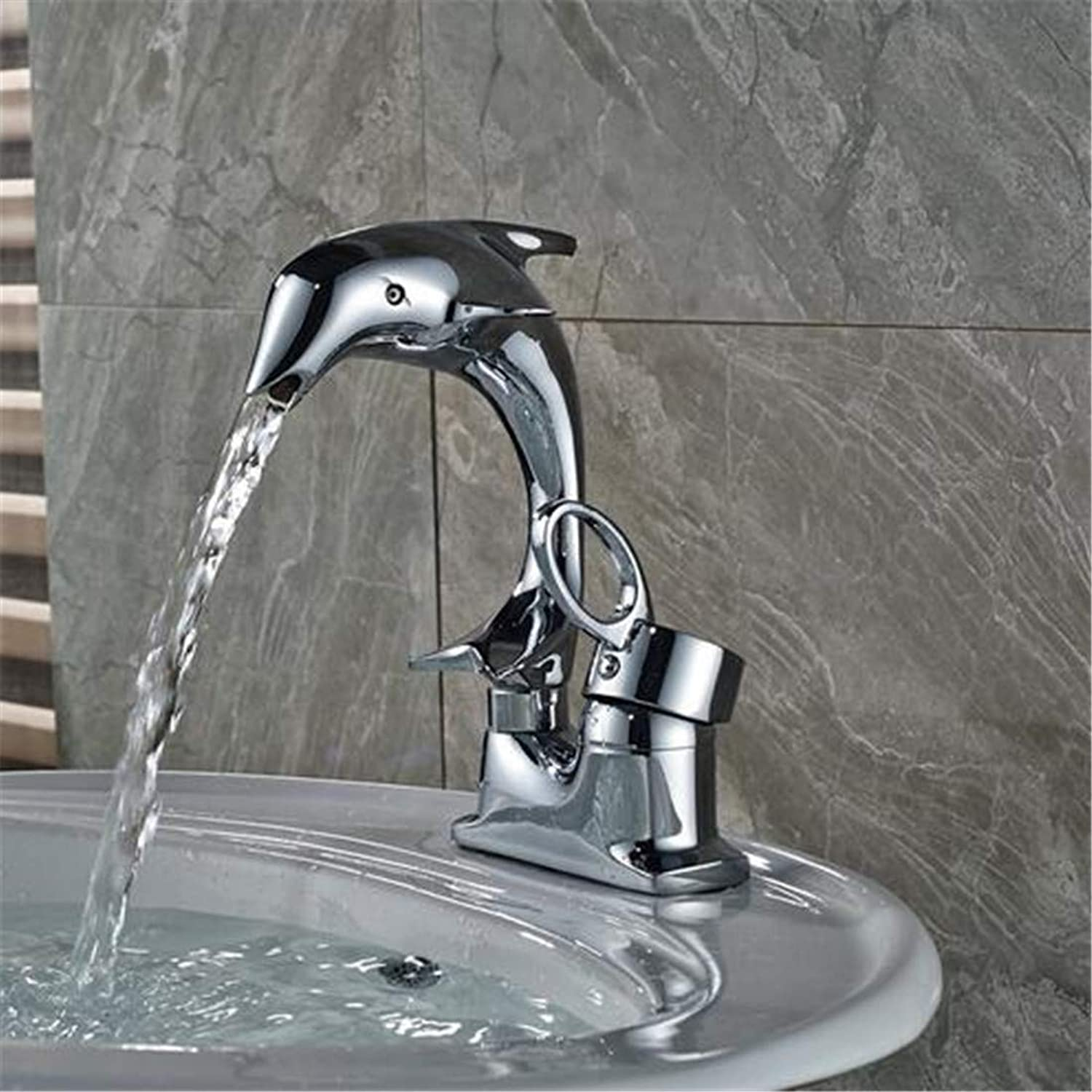 Luxury Modern Hot and Cold Faucet Vintage Platingpolished Chrome Bathroom Sink Faucet Single Handle Dolphin Basin Mixer Taps