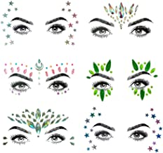 6 Sets Self-adhesive Face Gems Stickers Festival Glitter Jewels Rhinestone Tattoo Stickers Crystal Tears Gem DIY Body Art Makeup (BCollection 09)