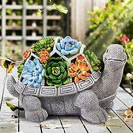 HANGOU Statue Jardin Exterieur Ornement de Tortue Figurines avec Lampes Solaires Décoration Jardin pour Patio Yard Lawn…