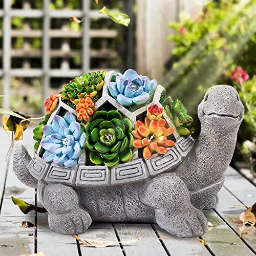 HANGOU Gartenstatuen Schildkröte Ornamente Deko Gartenfiguren mit solarbetriebenen Lampen Dekorationen für den Garten Terrasse Rasen