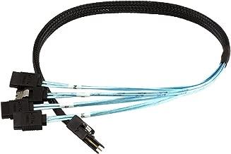 Monoprice 0.5m 30AWG Internal Mini SAS 36pin (SFF-8087) Male w/ Latch to SATA 7pin Female (x4) Forward Breakout Cable - Black (2 Pack)